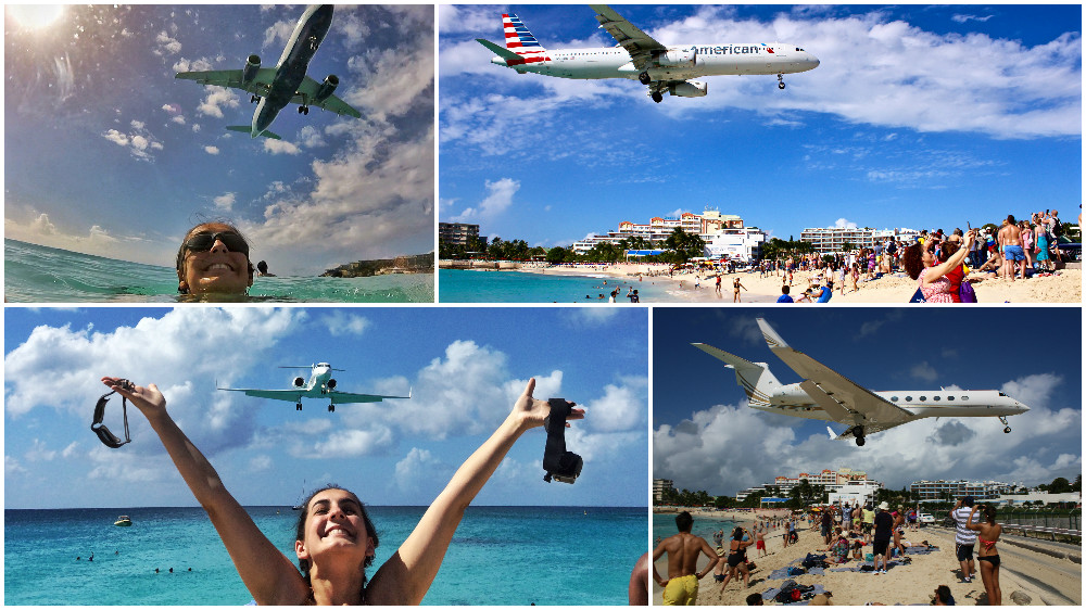 Planes flying over the beach in St Marteen