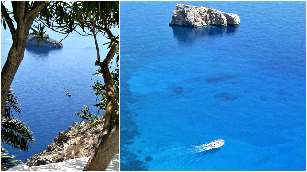 visiting Monastiriou beach in Amorgos, Greece