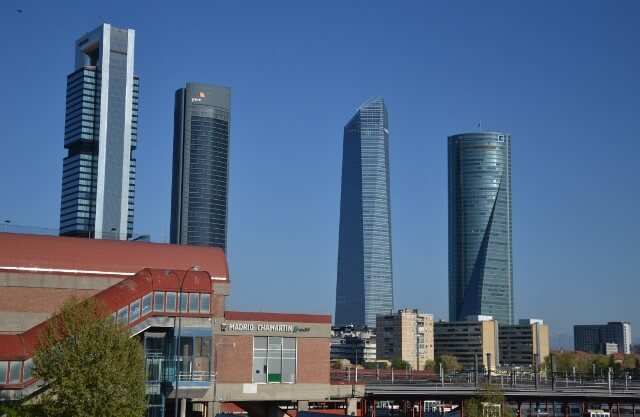 The Madrid financial district sky scrapers