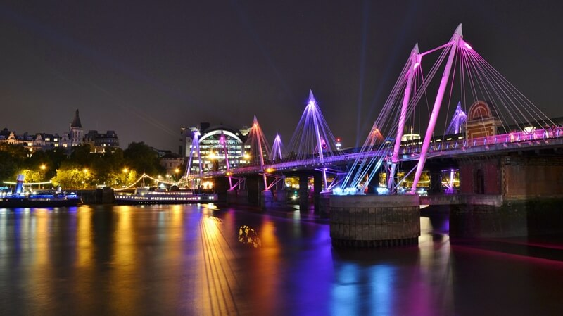 The foot bridges to Charing Cross Station