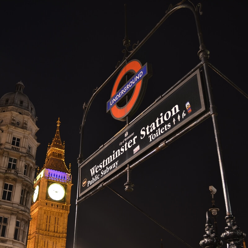 Westminster Station is perfect for Big Ben and Westminster Abbey