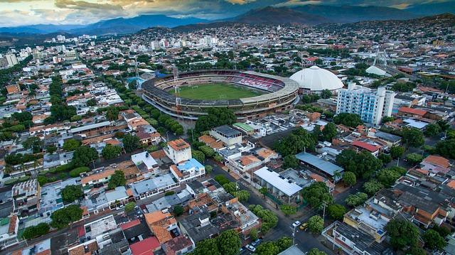 Drone photo of a football stadium