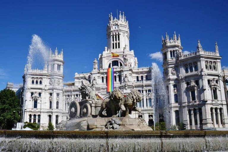 Cibales Fountain in Madrid during Pride Week