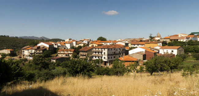 View looking back to Monsagro in the Sierra de Francia Mountains, Salamanca Spain