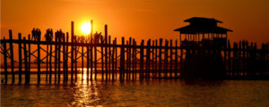 Sunset at U Bein bridge in Mandalay