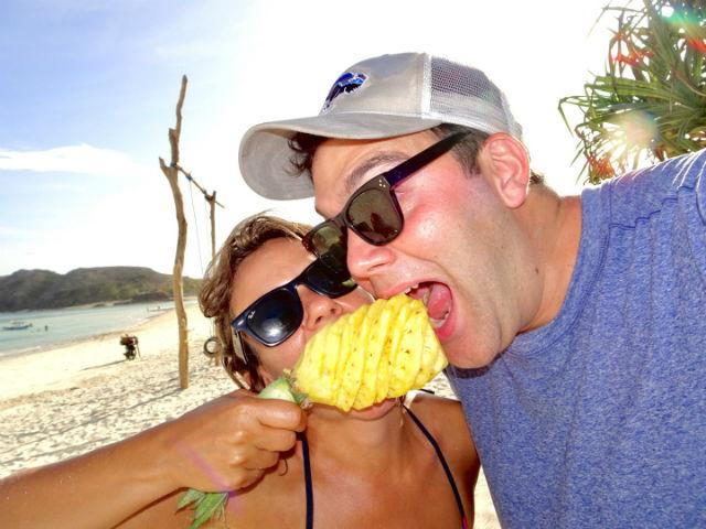 Pineapples on the beach in Kuta