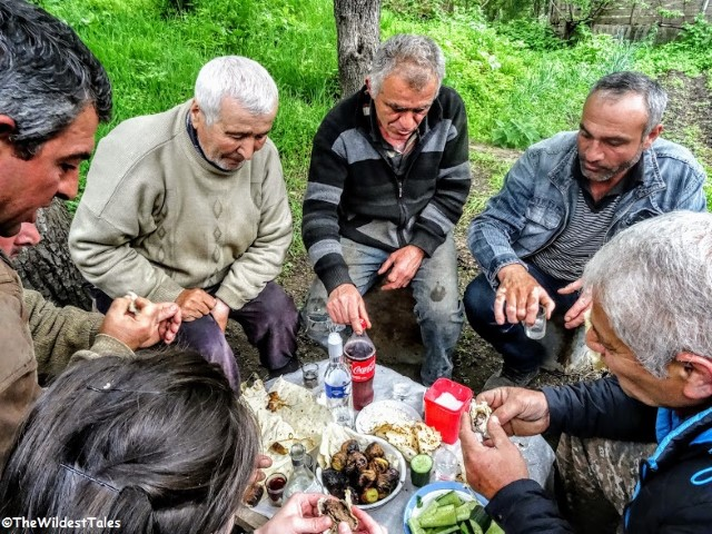 Sharing lunch with the locals in the Armenian Forest