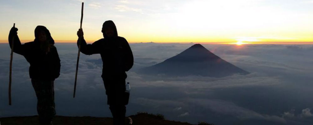 Amazing views of sunrise on Mt Acatenango