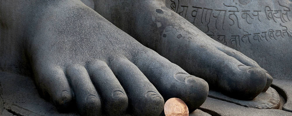 The largest monolithic statue in the world in Shravanabelagola