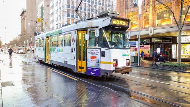 Getting the tram in Melbourne