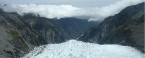 Hiking a glacier in New Zealand