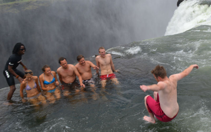 Jumping into Devil's Pool