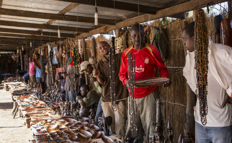Visiting the craft market in Livingstone