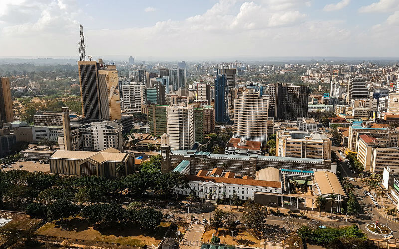A skyline view of Nairobi Kenya