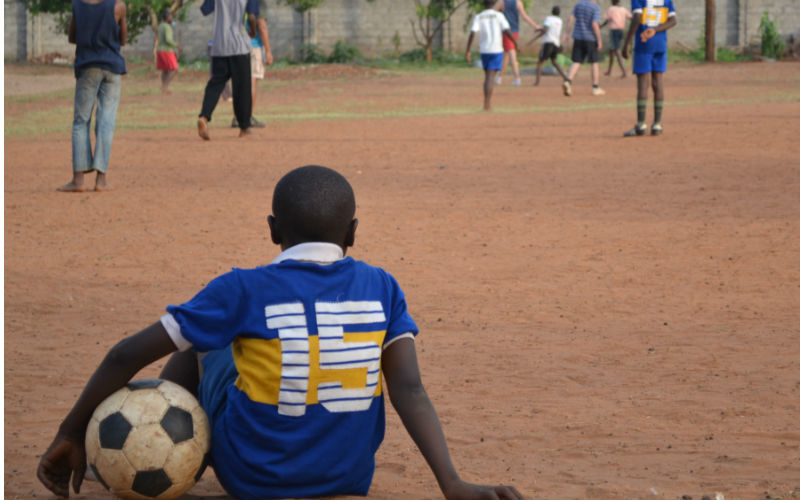Playing football with the kids in Livingstone
