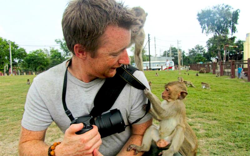 Mokeys attacks at the Lopburi Monkey Temple