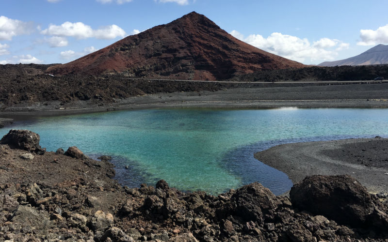 The Black beach with a green lake in Lanzarote