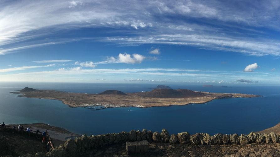 A panoramic photo of La Graciosa taken from Mirador del Rio