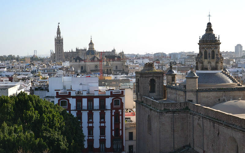 View of the Seville Cathedral from the Metropol Parasol