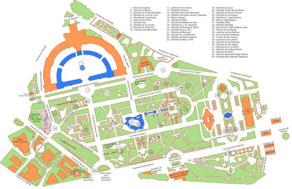 Map of Maria Luisa Park and Plaza Espana Seville