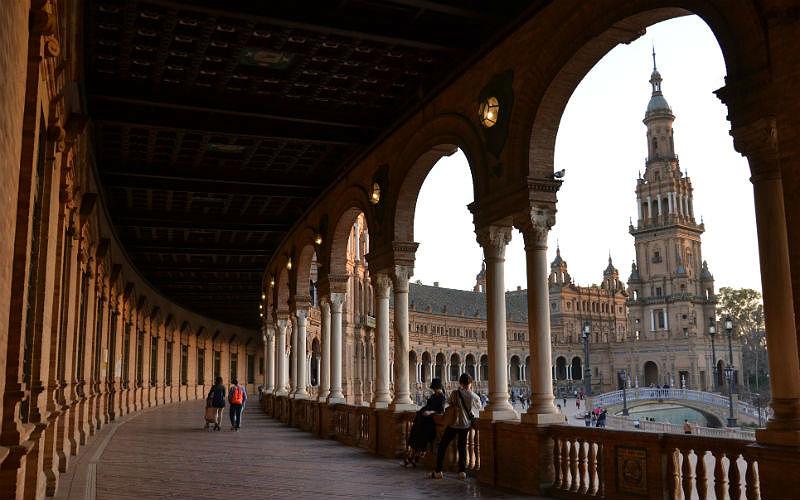 Where the scene from the Phantom Menace was filmed in Plaza de Espana