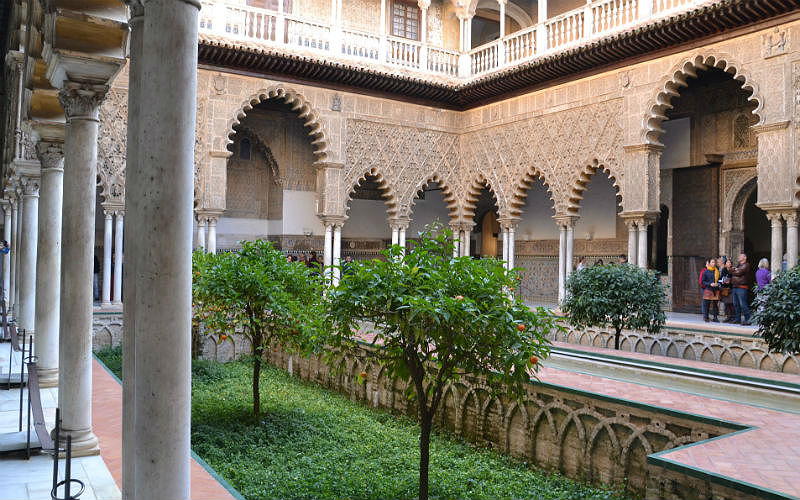 A central courtyard in the Real Alcazar of Seville
