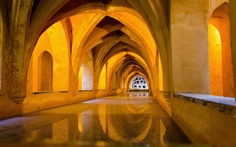 Baths in the basement of the Real Alcazar