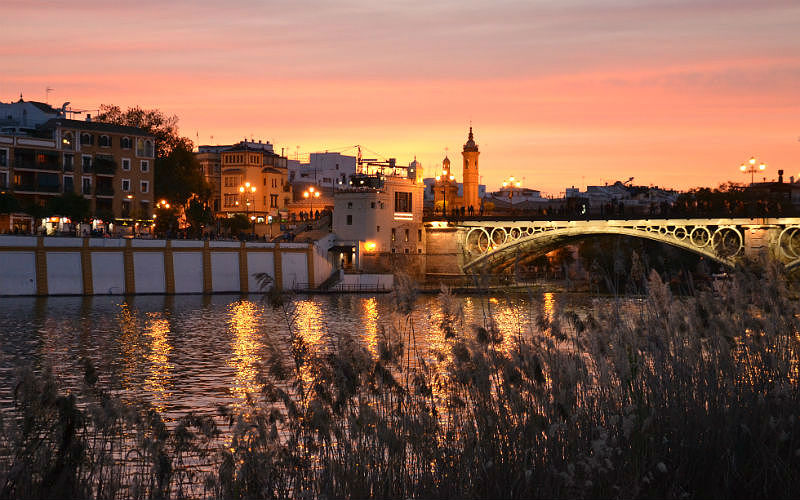 Sunset by the river in Seville