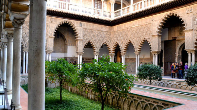 The mains courtyard of the Alcazar of Seville