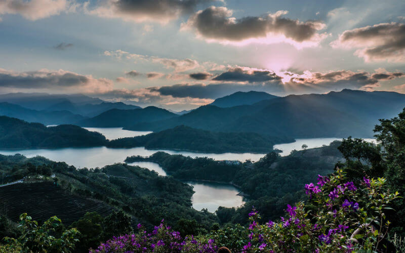 Sunset over the Shiding Thousand Island Lake in Taiwan
