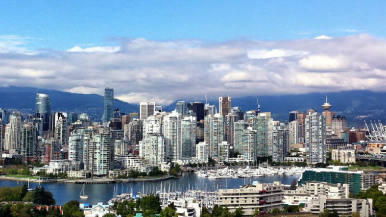 The skyline of Vancouver in Canada