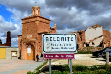 The entrance of the town of Belchite tours