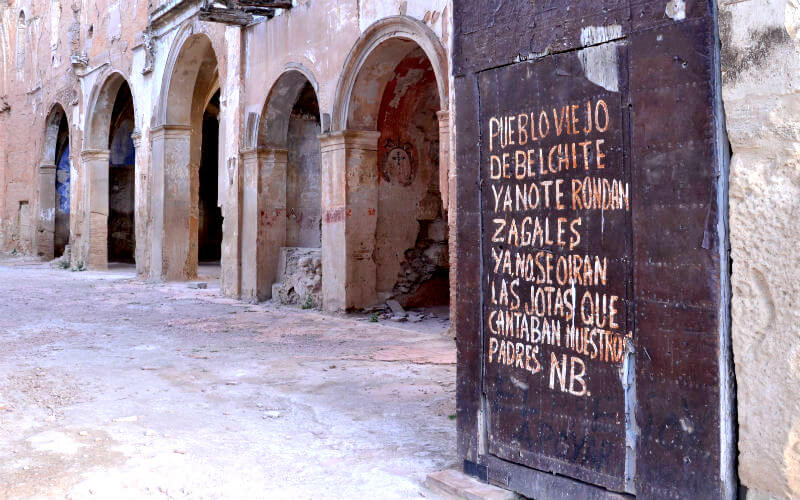 Writing on the walls of the Belchite church