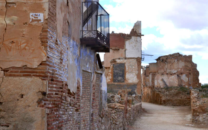 The main strret of the Spanish Civil War ghost town Belchite