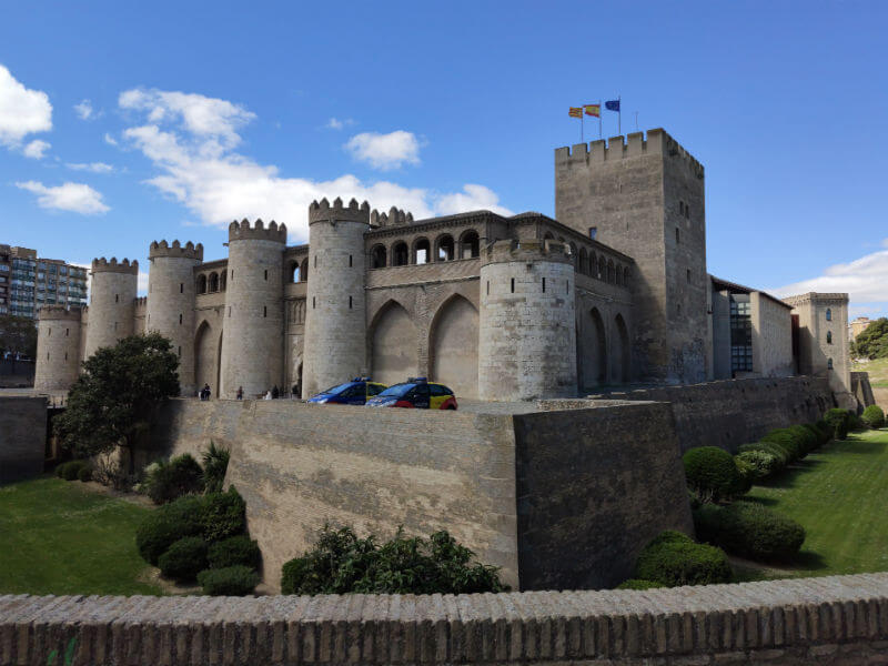 The front of the imposing Aljafería Palace