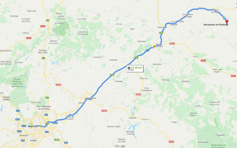 Driections from Madrid to Monasterio de Piedra, it takes about 2 and a half hours