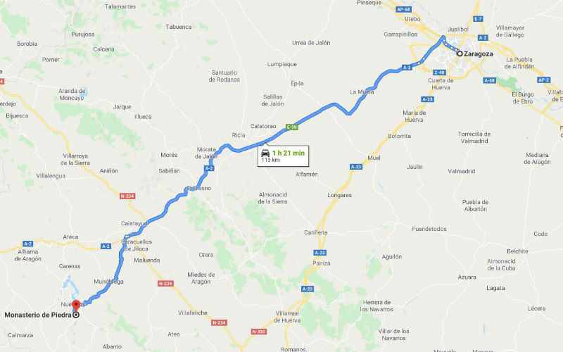 Driving from Zaragoza to Monasterio de Piedra