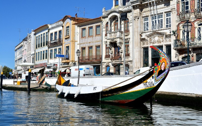 Moliceiro boats in front of classic Aveiro buildings