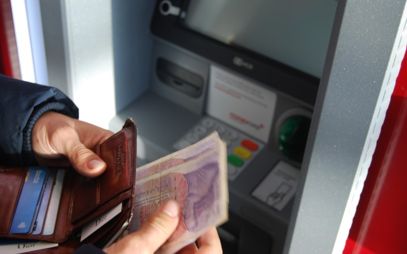 Man withdrawing cash
