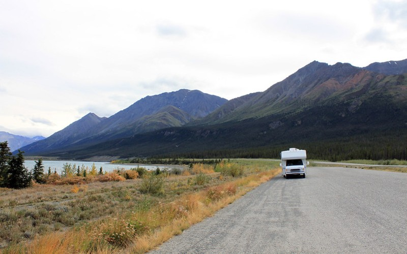 A campervan parked on the ALCAN Highway