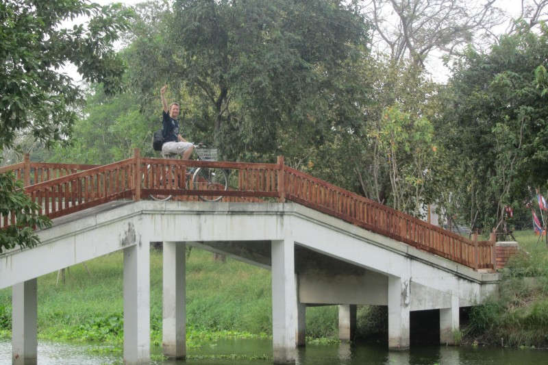 MAtt Hulland on a bike in Ayutthaya
