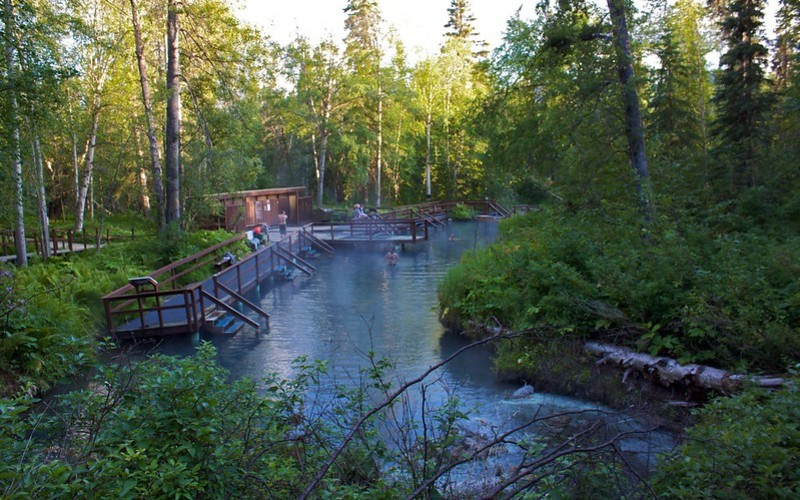 Liard Hot Springs surrounds by nature in British Columbia
