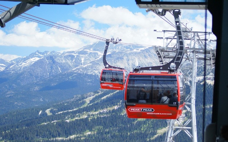 The Peak 2 Peak Gondola that joins Whistler and Blackcomb mountains