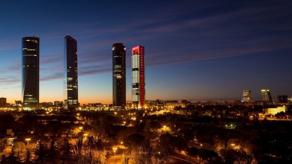 The iconic four towers of the Madrid skyline
