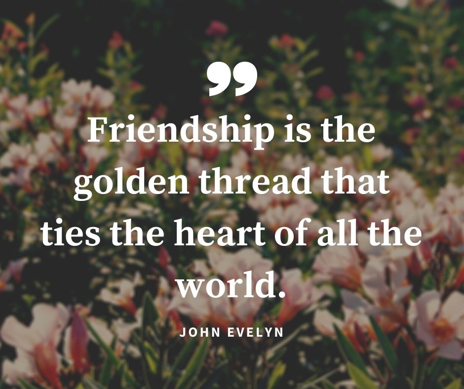 "memorable trip with friends quotes - ""Friendship is the golden thread that ties the heart of all the world."" – John Evelyn"