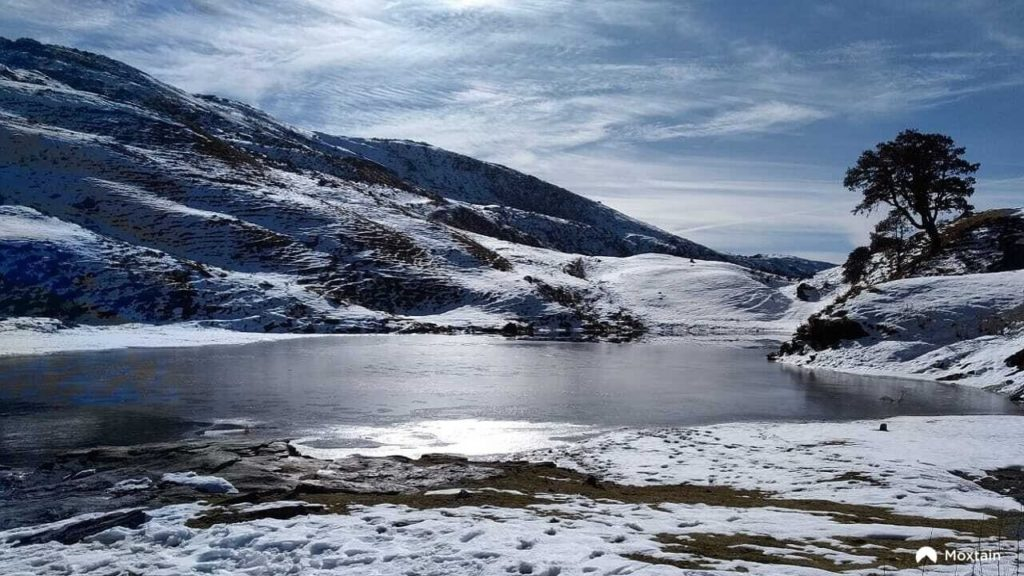 Snow settled on Brahmatal Lake -  a great hike in the Himalayas for beginners