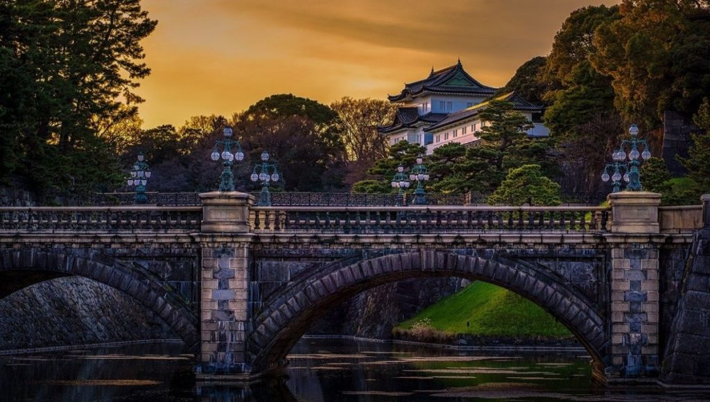 A bridge crossing a river to The Imperial Palace