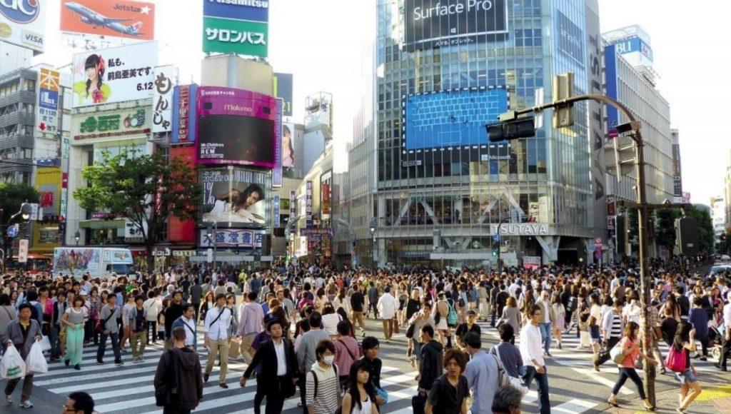 The scramble of Shibuya Crossing