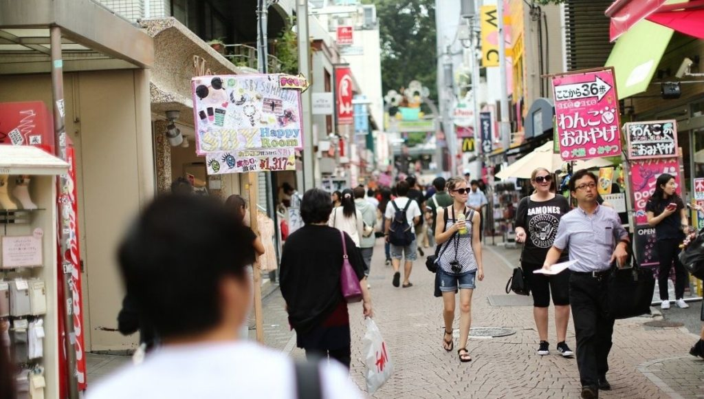 People shopping for souvenirs in Harajuku Tokyo