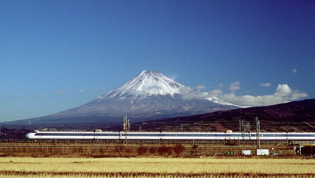 great views of Mt Fuji is with the Shinkansen bullet train